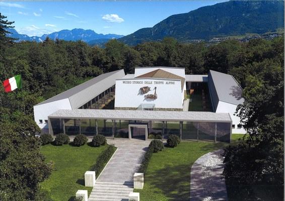 Il renderig grafico del progetto iniziale del nuovo Museo degli Alpini.